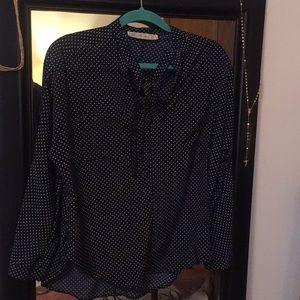 Navy polka dot tie blouse